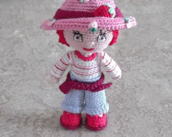 Bonnie's OOAK Crochet Cotton Thread Item Red Haired  mini Doll/ collictible, not a toy