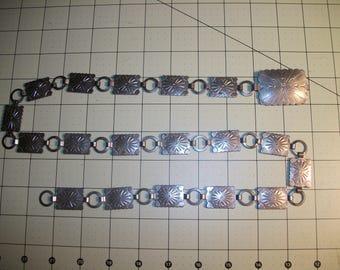 "Vintage 80's Silver belt. Silvel Belt. Silver Tone Metal Rectangle Concho Belt, Native American. 33"" L."