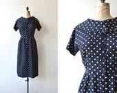 Point silk dress | vintage 1950s dress | polka dot 50s dress
