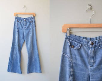 Ultra Soft denim bell bottoms | vintage 1970s bell bottom jeans | 70s wide leg jeans