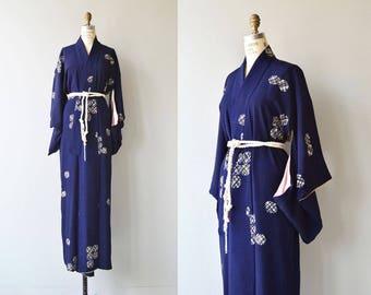 Gakusha silk kimono   vintage 1950s silk kimono   abstract print 50s kimono