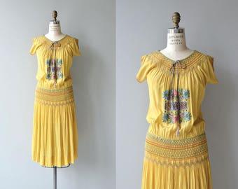 Kaliakra silk dress | vintage 1920s silk embroidered dress | smocked silk 20s dress