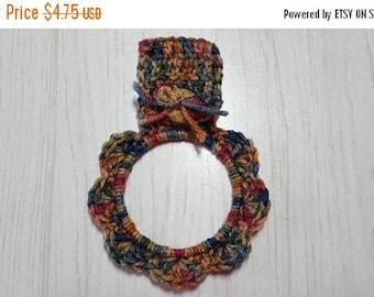 SALE Towel Holder Crocheted Ring Tan Blue Brown Green Maroon Variegated