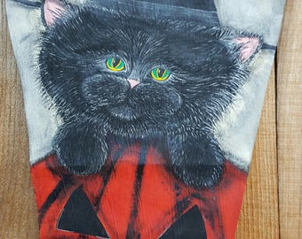 Ready to Ship Black Cat in a WItchy Hat in a Pumpkin for Halloween Decor