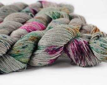 Damask 437 yards 'Nepal' Sock Fingering Yarn/ 4 ply merino - luxury yak yarn -handpainted