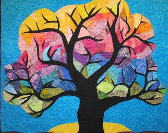 Rainbow Tree Wall Hanging Art Quilt