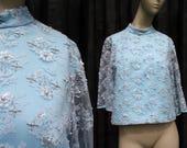 1960's Vintage Pale Blue Sheer Sleeve Crop Top Mock Neck Embellished Bedazzled Zip Back Woman's Retro Blouse
