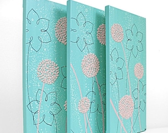 ON SALE Aqua Nursery Painting - Textured Flower Canvas Art Triptych - Aqua and Pink - Medium 32x20