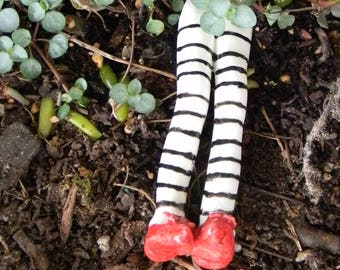 TINY Wicked Witch of the East  legs with Ruby Slippers with bows from Oz for your fairy garden Ceramic glazed
