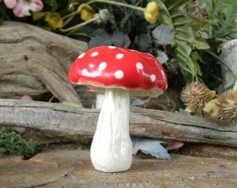 Garden Mushroom Ceramic  miniature Statues  Home Grown Ceramic  1  red    terrarium or in the ground fairy windowsill box