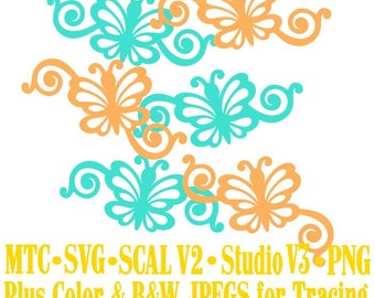 Butterfly 1 Flourish Set #04 Spring Cut Files MTC SVG SCAL and more Digital File Formats