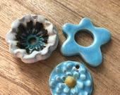 Try my Line Aqua Mix, button box zinnia, flower link, single hole button, Try my line, ceramic pendants, ceramic