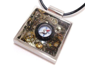 Steampunk Style Clockwork Working Compass of Gears Resin Pendant Necklace OOAK