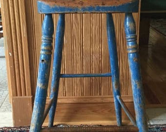 Antique Primitive Early Blue Painted Child's Windsor High Chair
