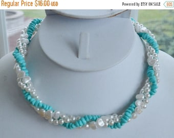 """ON SALE Pretty Vintage Faux Freshwater Pearl, Faux Turquoise Beaded Twisted Necklace, 15-1/2"""""""