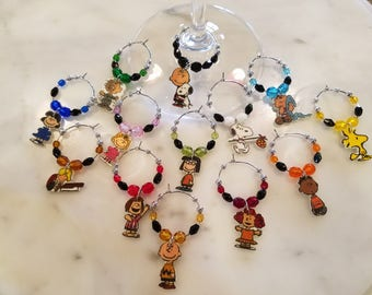 Peanut Gang  Wine Charms WITH POUCH