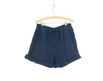 Cotton Drawstring Shorts 90s Elastic Waist Thin Cotton Shorts Minimal Dark Blue Beach Shorts MOM Shorts w Pockets Vintage GS Women Medium