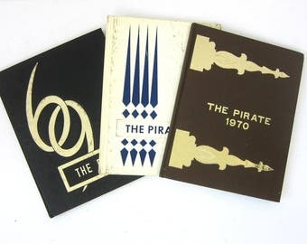 ONE vintage 1960s 1970s Yearbook Oxford Junction Iowa High School The Pirate Year Book 1969 1970 Retro Black Brown Hardcover Books