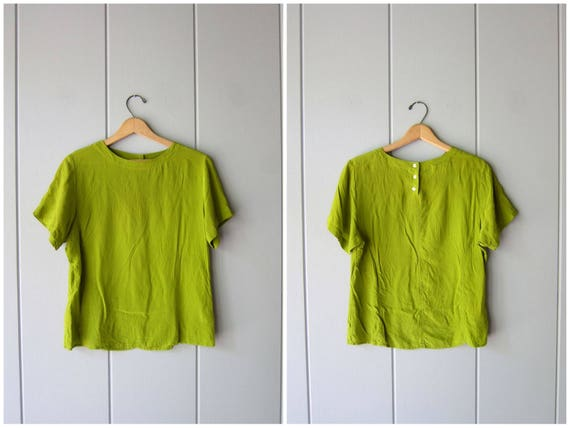 90s Silk Top Mossy Green Modern Vintage Boxy Silk Top Short Sleeve Casual Silk Blouse Boxy Crop Top Minimal Silk Tee Womens Medium