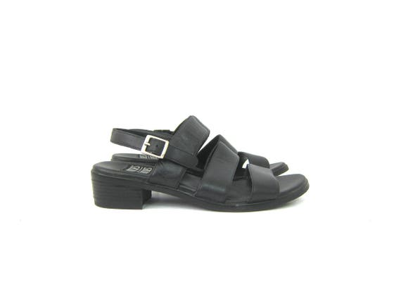 90s Black Strappy Sandals Vintage Leather Modern Sandals Peep Toes Buckled Shoes Summer Minimal Sandals Womens size 7.5