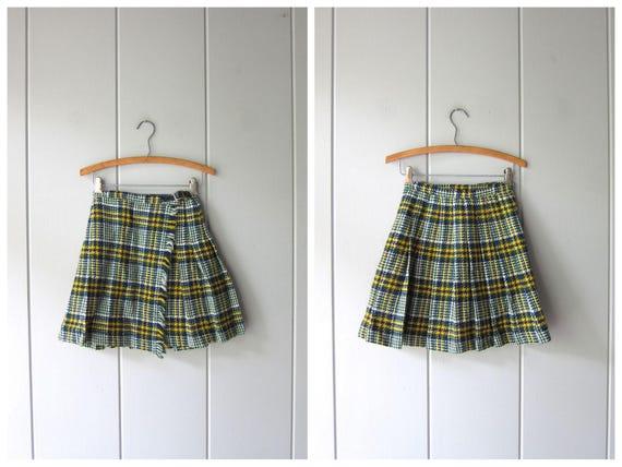 Wool Mini Skirt Preppy School Girl Plaid Skirt Vintage 50s 60s Skirt Miniskirt Mod Fringed Green Blue Yellow Cheerleader Pleated Skirt XXS