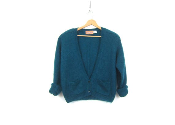 Teal Blue Green cardigan sweater Retro Mohair Sweater Hipster Pocket sweater Preppy Layering Top Women's Size Medium Large