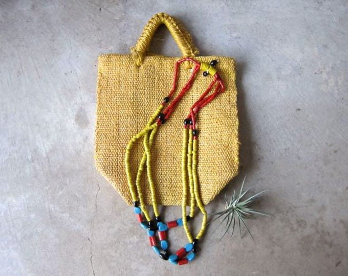Long Beaded Necklace Three Strand Necklace Vintage Tribal Jewelry Yellow Blue Red Boho Glass Beads Necklace Ethnic Womens Jewelry