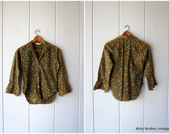 50s Cotton Shirt | Olive Green Printed Floral Blouse | Mid Century Print Tee Long Sleeve Button Up Retro Top Vintage Womens XS