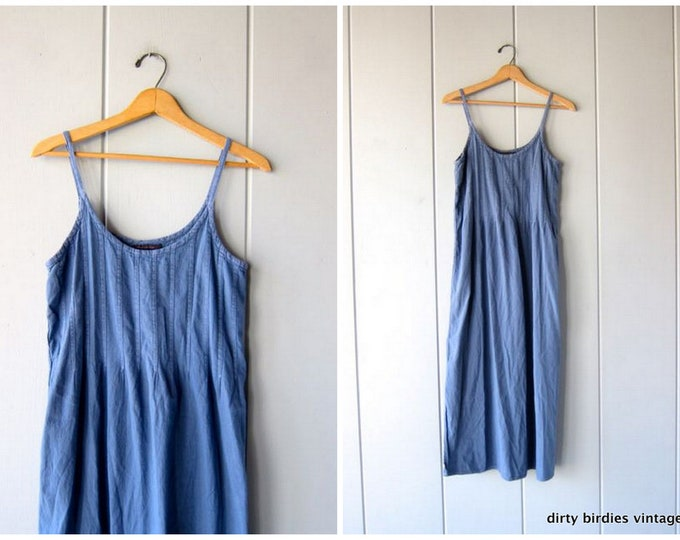Blue Cotton Sundress 90s Basic Midi Sun Dress Sleeveless Summer Tank Dress Guatemalan Dress Minimal Simple Neutral Womens Medium