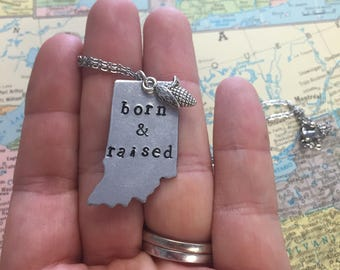 The Jamie Necklace or Key Chain- Indiana Born and Raised