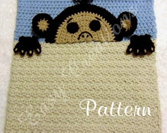 PDF CROCHET PATTERN Peek-a-Monkey, Monkey Pajama Pillow, boy Pj bag, girl Pj pillow, Pj animal pillow, pet Pj bag