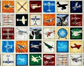 "36"" Fabric Panel - Quilting Treasures Aviator Airplane Propeller Blocks Beige"