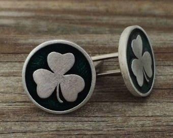 Shamrock Pewter Cufflinks | Men's Cufflinks | Gift for Groom | Irish Jewelry | Cuff Links | by Treasure Cast Pewter