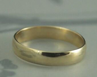 Comfortable Ring~14K Yellow Gold Ring~Low Dome Ring~Thin Ring~Plain Jane 4mm by 1mm~Men's Wedding Ring~Women's Wedding Band~Half Round Ring