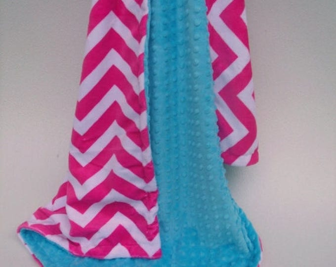 SALE Hot Pink Chevron and Aqua Turquoise  Minky Baby Blanket for Girl Can Be Personalized