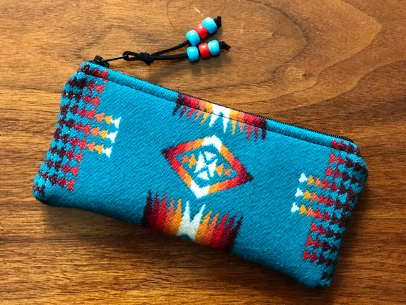 Wool Glasses  Case / Tampon Case / Zippered Pouch Turquoise Mini Chief Joseph