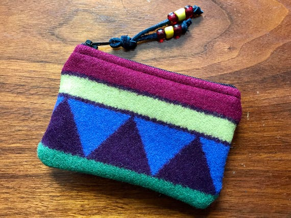 Wool Coin Purse / Phone Cord / Gift Card Holder / Zippered Pouch XL