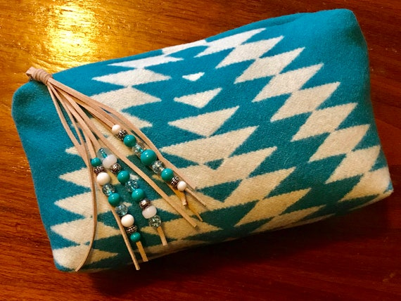 Wool Unlined Clutch XXL with Beaded Fringed Zipper Pull / Cosmetic Bag / Makeup Bag / Travel Bag XXL Bold Turquoise Geometric