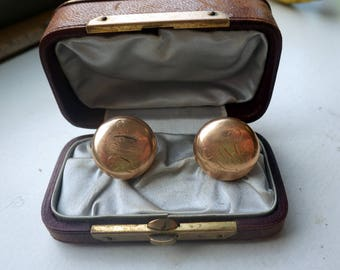 14k Cufflinks - Vintage - Victorian - Domed - Solid Gold - 6.2 Grams