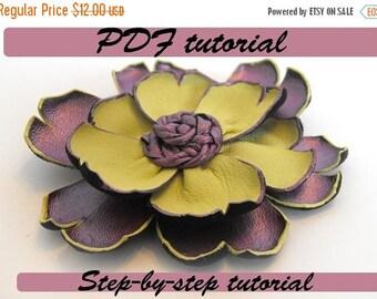 50% OFF SALE Leather flower tutorial. Fantasy flower PDF pattern