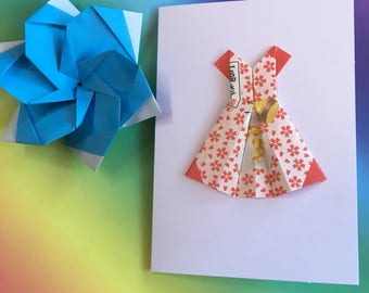 Origami greeting card - Hello Kitty paper dress (floral)