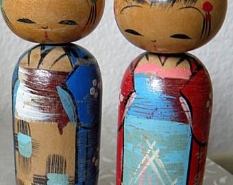 christmasinjuly 2 Kokeshi Dolls