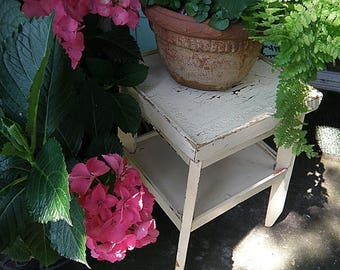 christmasinjuly Pale Yellow Chippy Cottage Style Little Table for Garden or House