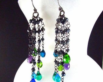 25 OFF Colorful Quartz, Amethyst and Pyrite Wire Wrapped Oxidized Dangle Cluster Earrings