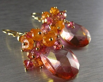 25 OFF Pink Mystic Quartz With Mandarin Garnet Gold Filled Cluster Earrings