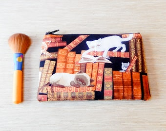Cat Pouch, Cat Coin Purse, Fabric Zipper Pouch, Pouch, Zipper Change Pouch, Zipper Case, Gift for Her, Gift Under 20, Cats in Library Pouch