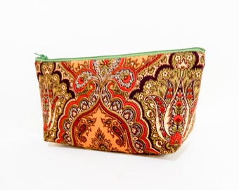 Boho Pouch, Cosmetic Bag, Pencil Pouch, Zipper Pouch, Fabric Pouch, Pouch, Gift for Her, Gift Under 20, Boho Motif with  Olive and Paisley