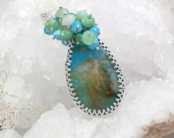 FINAL SALE Plume Agate Long Layering Necklace Turquoise Chrysoprase Necklace  Bezel Set Gemstone Cluster Necklace Colorful Gemstone Pendant