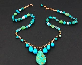 FLASH SALE Turquoise Hand Knotted Silk Dangle Necklace Chrysoprase Boho Chic Fringe Necklace Rose Gold Fill Bohemian Luxe Gift for Her Summe