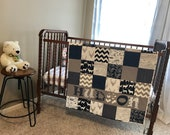 Woodland Personalized Baby Quilt - Blanket - Crib Size - Animals - Gray - Rustic - Deer - Antlers - Feathers - Elk - Name - Navy Blue - Boy